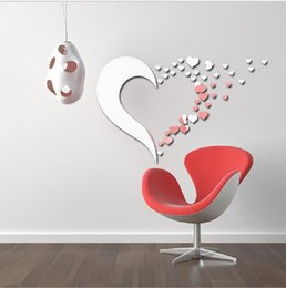 New Arrival Love Heart DIY Mirror Wall Decals Stickers Art Home Room Vinyl Decoration For Children Dining