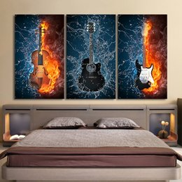 guitar art posters 2019 - 3 Pcs Set Framed HD Printed Black Burning Guitar Music Poster Modern Home Wall Decor Canvas Picture Art Print Oil Painti