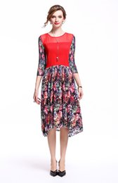 28ea7a65e0a Spring Autumn Fashion Round Collar Flower Printing Bodycon Flare Dress Crew  Neck Gauze Slim skirt A-line Skirt with Sleeve for Women