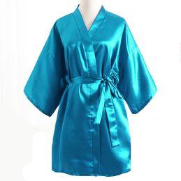 21cf60fa87 Wholesale- Top Selling Summer Women Mini Kimono Night Robe Light Blue Faux  Silk Bath Gown Short Nightgown Pijama Mujer One Size Msf011