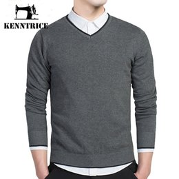 Barato Cinza V Homens Camisola Pescoço-Atacado- Kenntrice Casual Classic College Sweaters Homens V-neck Formal Pullovers Winter Slim Fit Design Grey Knitwear Homens Solid Tamanho Grande