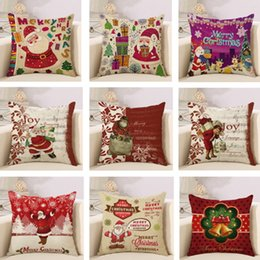 Christmas Cushion Cover Decoration Home Decor Pillowcase Santa Claus Cartoon Pattern Square Pillow Case Printed Linen Decorative Sofa