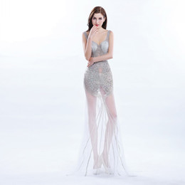 Classic Art Deco Canada - Full Beading See-Through Evening Dress Sexy Eyecatching Crystal Tulle Prom Dresses Art Deco-inspired Criss-Cross Bandage Custom Made Gowns