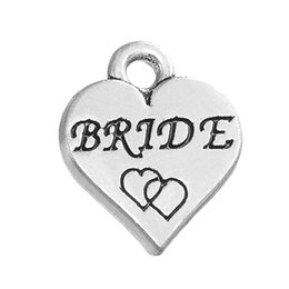 Wholesale maid love resale online - 4 Styles New Fashion Alloy Silver Bride Bride s maid Bangle Charms DIY Accessories For Bracelet Necklace Jewelry