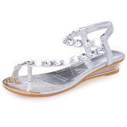ccb4402d78a wholesaler free shipping factory price hot seller girl summer Sandals  diamond Flipflop sliver roma women shoe sandals117
