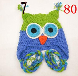 owl beanie kids NZ - OWL Crochet Knitted Hat Baby Boy Girl Children Flower Beanie Earflaps Winter Animal Cap Newborn Infant Toddler Kids Photo Prop Cotton Beanie