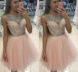 Discount lilac rhinestone prom dress - 2017 Pink Short Homecoming Dresses Scoop Neck Sheer Tulle Rhinestone Crystal Short Mini Blush Party Prom Gowns