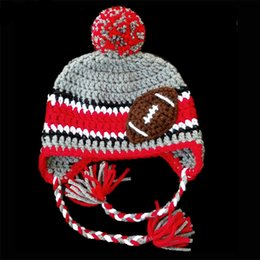 crochet football hat Canada - Crochet Football Hat Handmade Knit Baby Boy Girl Football Team Hat Fans Hat Infant Newborn Photo Props Toddler Winter Cap Baby Shower Gift