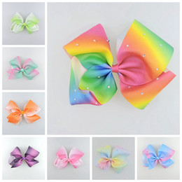 Barato Fitas De Arco-íris-10pcs Jeweled Pastel ombre ribbon 18cm big Signature hair arcos clipes Rainbow crystal Dance Cheerleader Páginaant cabelo Acessórios HD3474