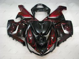 Red Black Kawasaki Zx6r NZ - Body Kits ZX6r 636 05 ABS Fairing for Kawasaki ZX6r 06 Black Red Flame Bodywork Ninja ZX-6r 2005 2005 - 2006