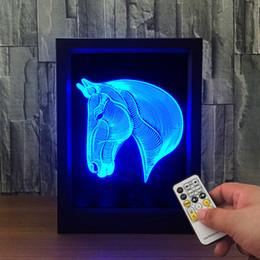 $enCountryForm.capitalKeyWord Australia - 3D Horse LED Photo Frame Decoration Lamp IR Remote 7 RGB Lights DC 5V Factory Wholesale Drop Shipping