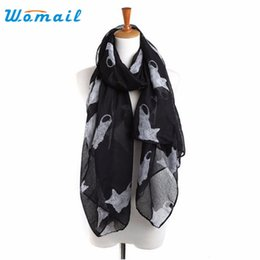 Discount scarves womens spring - Wholesale- Womail Good Deal Good Quality New Fashion Lady Womens Cute Cats Print Scarf Long Shawl Soft Spring Scarves Gi