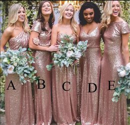 Robes De Mariée À Bas Prix Pas Cher-Bling Sparkly Rose Gold Sequins Robes de demoiselle d'honneur 2017 New Cheap Mermaid Deux pièces Robes de bal Backless Country Beach Wedding Party Dress