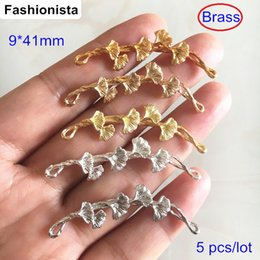 Bronze Connectors NZ - 5 pcs Gingko Leaf Wisteria Connectors,9*41mm Brass Casting Crafts Jewelry Link,Bronze   Silver   Steel   Brass
