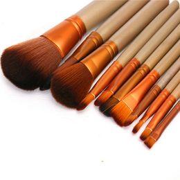 $enCountryForm.capitalKeyWord Canada - 12pcs set Makeup Brushes set wool fiber hair gold pro Powder Foundation blusher Cosmetic Brushes beauty tool opp packing 20Set G12022