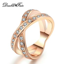 rhodium plated cz 2018 - Two Rounds Top Quality CZ Diamond 18K Rose White Gold Plated Rings For Women Wedding Wholesale Jewelry DFR046   DFR112 c