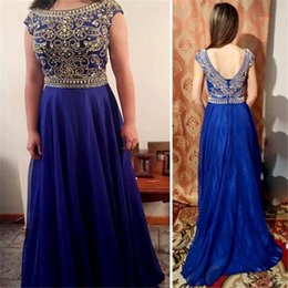 Barato Abendkleid Prom-Royal Blue Evening Dresses 2017 Langes Chiffon Abendkleid Sexy Backless Prom Vestido Beaded Crystals Cheap Formal Party Dresses for Women