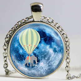 Glass Art Prints Canada - Hot Air Balloon Elephant Blue Full Moon Pendant Necklace Glass Art Print Jewelry Charm Gifts for Her or Him animal space flying