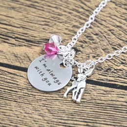 baby links 2019 - 12pcs lot Baby Deer Fawn Necklace I'm Always With You Deer Father Daughter Necklace Mother Daughter Necklace Crysta