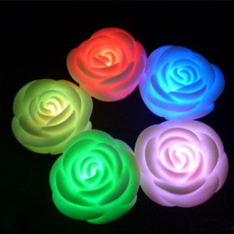 Flameless candles Free shipping online shopping - Changeable Color LED Rose Flower LED Candle lights smokeless flameless roses love lamp