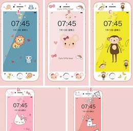 Wholesale Cartoon Hello Kitty D Screen protector Tempered Glass Film Front Premium For iphone iphone7 S Plus soft edge Bear Butterfly Animal