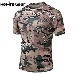 Chemise Tactique Camo À Manches Longues Pas Cher-x201710 ReFire Gear Summer Military Camouflage T-shirt Hommes Tactical Army Combat T-shirt Quick Dry Short Sleeve O Neck Camo Casual Tshirt