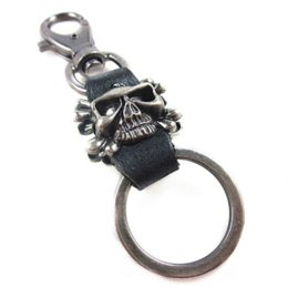 China Seanuo personality skull leather keychain key chain for men women fashion punk art alloy bag door car key ring holder jewelrys supplier leather key rings women suppliers