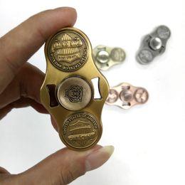 Dollar fiDget spinner online shopping - Metal fidget spinner Zinc alloy Dollars Coin Cents Hand Spinner EDC Torqbar Brass HandSpinner Decompression Toy