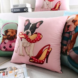 Trustful Lovely Pug Chihuahua Pet Dog Cushion Cover Hand Painting Dogs With Telephone High Heels Hat Pillow Covers Velvet Pillow Case Cheap Sales 50% Home & Garden