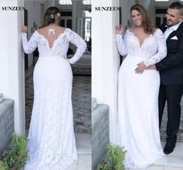 $enCountryForm.capitalKeyWord NZ - Modest Plus Size Sheath Wedding Dresses Full Lace Long Sleeves Deep V-neck Bridal Gowns Custom Made vestidos de novia