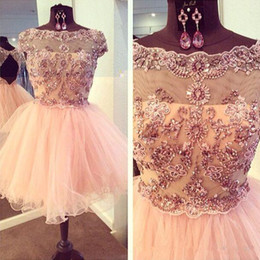 Sparkly Gold Cocktail Dresses Canada - 2017 Sparkly Crystal Short Tulle Homecoming Dresses Lace Appliques Bateau Cap Sleeves Sexy Open Back Cocktail Party Gowns Blush Prom Dress
