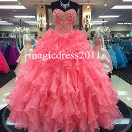$enCountryForm.capitalKeyWord NZ - Princess Coral Ball Gown Sweet 16 Party Quinceanera Dresses 2019 Sweetheart Corset Ruffles Major Beaded Custom Made Girls Debutantes Gowns