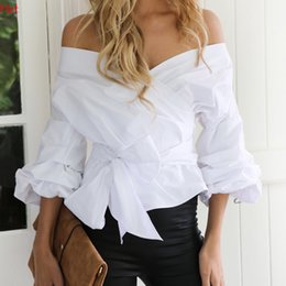 Barato Mulher Blusa Listra-Hot Sexy Women V-Neck blusa Fot Party Crossover Off Shoulder Blouse 3/4 Lantern Sleeve Ruched Solid Bowknot Blusa Stripes Tops SVH031509
