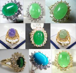 Black Jade Wedding Rings Canada - Wholesale cheap charming green purple jade turquoise zirconia 18 KGP ring