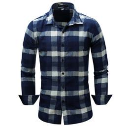 $enCountryForm.capitalKeyWord Canada - New Arrival Men's Shirt Fashion Denim Shirts Casual Stylish Jean Tops Soft Material Long Sleeve Mens Plaid Shirt Plus Size