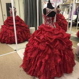 Robe De Bal À Col Roulé Rouge Pas Cher-Dark Red Organza Ball Gown Quinceanera Robes Sheer Neck Beading Ruffles Floor Length Plus Size Robes de bal Sweet 16 Dresses Lace Up