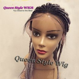 Discount grey braiding hair - Gorgeous Fat Big Braided Lace Front Wig Synthetic Black Root Ombre Grey Color Box Braiding Hair Lace Front Wigs for Blac