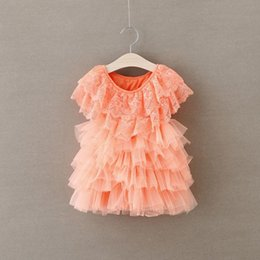 Robes En Couches Pour Bébés Pas Cher-Summer Lace Robes filles Princess Girls Layered Robes Kids Baby Girl Cake Layer Lace Tutu Princess Dress