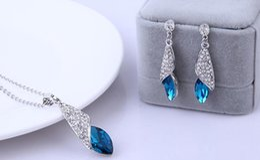 Wholesale Pendant Sets NZ - Bridal Silver Jewelry Sets New Fashion Tear Drop Crystal Rhinestone Earrings Pendants Necklaces Set Women Girls Bridesmaid Wedding Jewelry