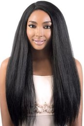 Lace wig 1b yaki straight online shopping - Fahion Long cosplay synthetic wigs yaki straight b color heat resistant italian kinky synthetic lace front wig For black women