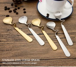 Discount restaurant coffee cups - 304 stainless steel cup hanging spoon Creative food grade coffee tea distort spoon Hotel restaurant mixing spoon