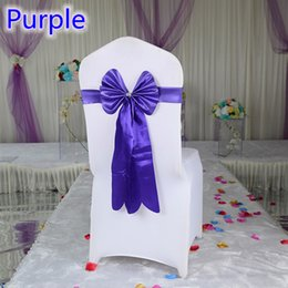 Style Chairs Canada - Purple color chair sash long tail butterfly style wedding chair decoration luxury chair bow tie wholesale lycra spandex sash