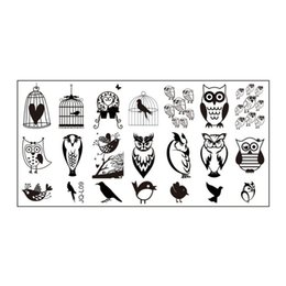 Chinese  Wholesale- 1Pcs Nail Stamping Plates For Nail Art Templates Beauty Owl Pattern Design Stainless Steel Manicure Tools JH124-JQ-L09 manufacturers