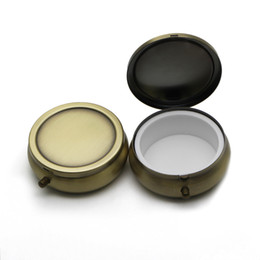 Barato Caixas De Comprimidos De Metal Arredondado-Metal Pill Box Case Round Medince ou Sugar Organize Holder One Compartiment Bronze Color PY01C DROP SHIPPING