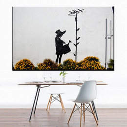 Spray Can Painting Australia - ZZ1718 graffiti canvas wall art banksy girl watering can canvas pictures oil art painting for livingroom bedroom decoration art