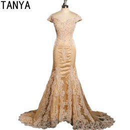 Barato Ouro Longo Vestido China-Vintage Long Mermaid Champagne Gold Lace Appliques Beads Mangas curtas Vestido formal China Cheap Evening Dresses