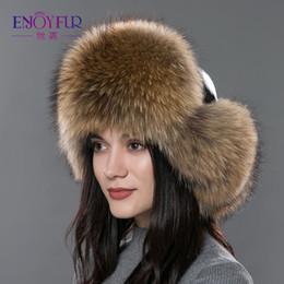 $enCountryForm.capitalKeyWord NZ - Women's fur hat for winter genuine leather fur tapper hat with fur pom pom ear protect bomber hats Russian Ushanka outdoor caps