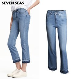 Barato Alto Cintura Jeans Mulheres-Wholesale- Moda New Ladies Casual Flare Jeans Mulheres Vintage Tassels High Waisted Jeans Femme Denim Pants