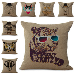 2bfb429b7f24 Retro Animal Head Tiger Lion Dog Deer Owl Elephant Cats Pillow Case Cushion  Cover Linen Cotton Throw Pillowcases Sofa Car Pillowcover PW651