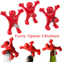 Chinese  Funny Character Modeling Bottle Opener, Beer Wine Opener, Vacuum Wine Stopper Plug 3 Styles, Bars, Family Fun Open Bottle Tools. manufacturers